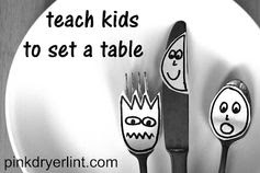 Pink Dryer Lint: Teach Kids How To Set a Table