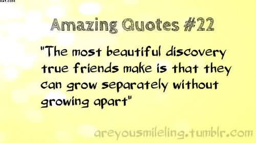 The Most Beautiful Discovery True Friends Make Is That They Can Grow