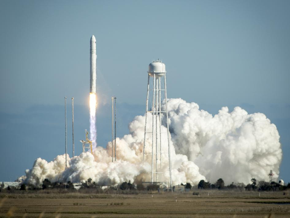 The Orbital Sciences Corporation Antares rocket is seen as it launches from Pad-0A of the Mid-Atlantic Regional Spaceport (MARS) at the NASA Wallops Flight Facility in Virginia, Sunday, April 21, 2013.