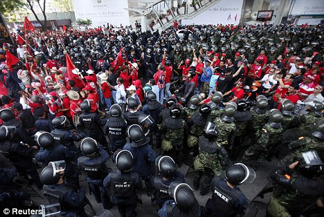 Clashes: Political opponents claim Mr Abhisit could be sued in international court over claims of abuse during the Red Shirt protests last year
