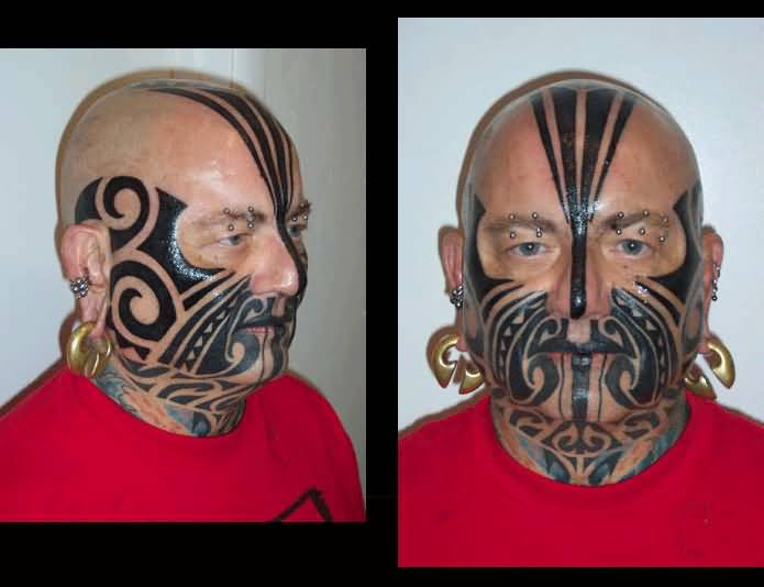 Men Face Cover Up With Outstanding Black Ink Maori Tattoo