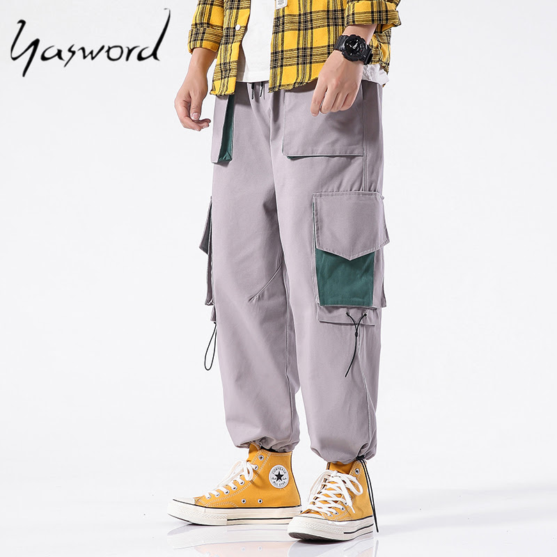 Men Side Pockets Casual Loose Pants Straight-leg Men Pants Men Side Pockets Cargo Harem Pants