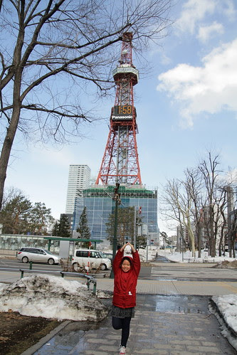 Sister in front of the Sapporo TV Tower