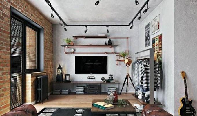 Σαλόνι με φωτιστικά holywood και υδραυλικούς σωλήνες