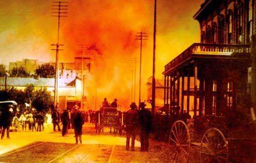 old photo of the Great Seattle Fire