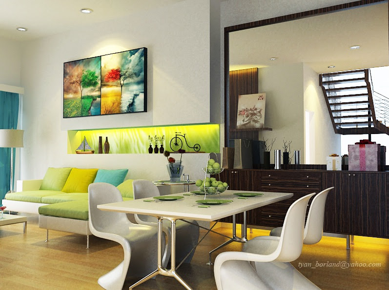9 lime green white turquoise living dining room
