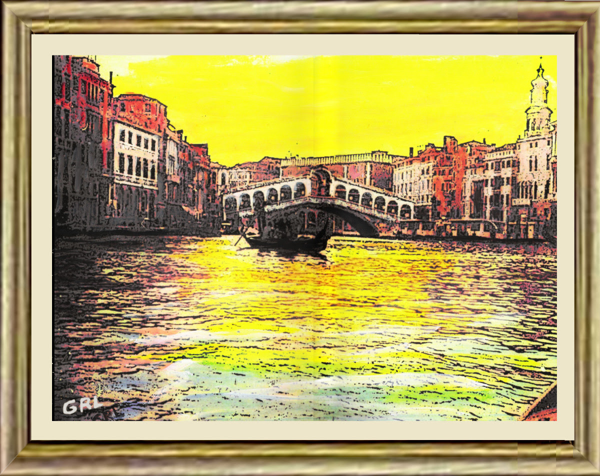 Venice 1b Framed Original Multimedia Painting Fine Art. $13 to $24 small, medium-size, prints. Free downloads, wallpaper, GrlFineArt. Fine art work. These art works are based on my own original black and white photos, taken back in the 1950's.  For fine art decor, fineart, europe, 1950, italy, venice, gondola; photograph, multimedia classical traditional modern acrylic oil painting paintings prints.
