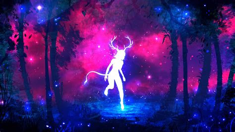 wallpaper jungle forest horns fantasy girl neon colors