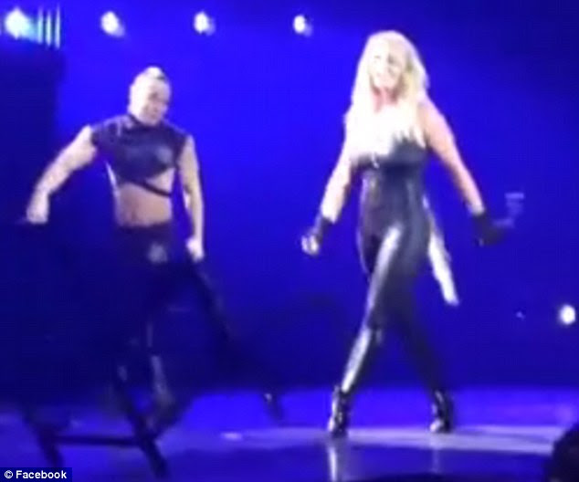 Unfazed: The 33-year-old singer was performing her hit single Do Something when her faux tresses fell out