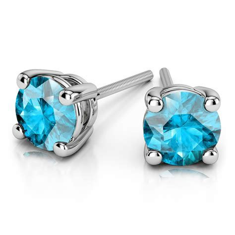 Aquamarine Round Gemstone Stud Earrings in Platinum (5.1 mm)