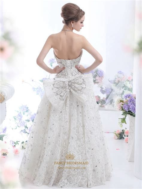 Ivory Lace Fully Beaded Strapless Wedding Dress With Big