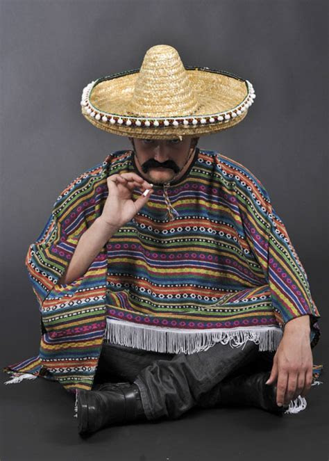 Mens Authentic Mexican Poncho Costume