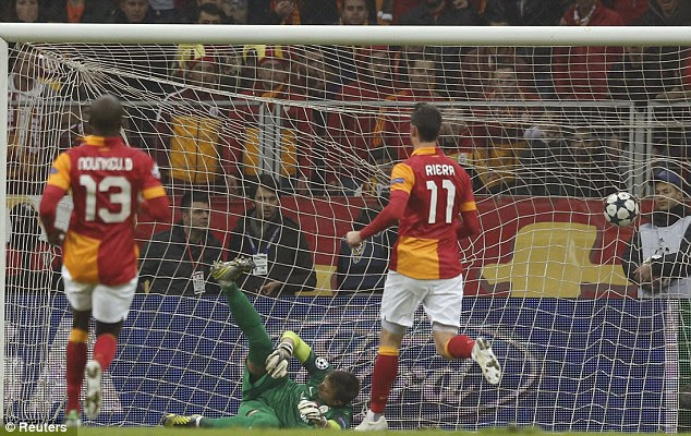 Back in the game: Jermaine Jones (not pictured) scores past Fernando Muslera to make it 1-1