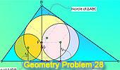 Problema 28: Triángulo rectángulo, Altura, Incentros, Inradios, Tangentes.