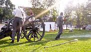 Confederate cannon firing