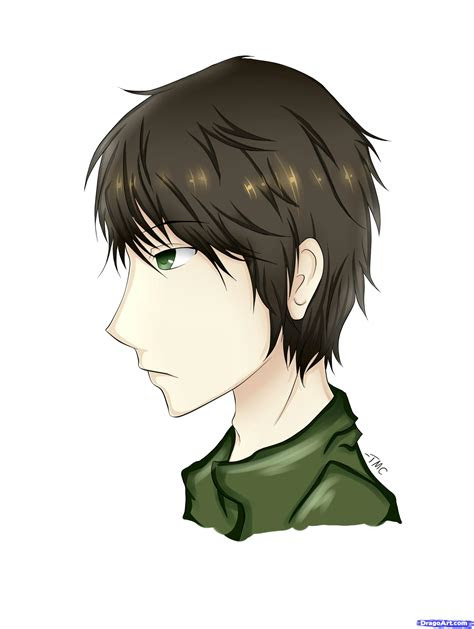 draw  male  profile view step  step anime