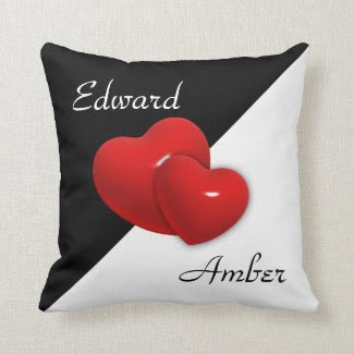 Black and White Double Heart Pillow