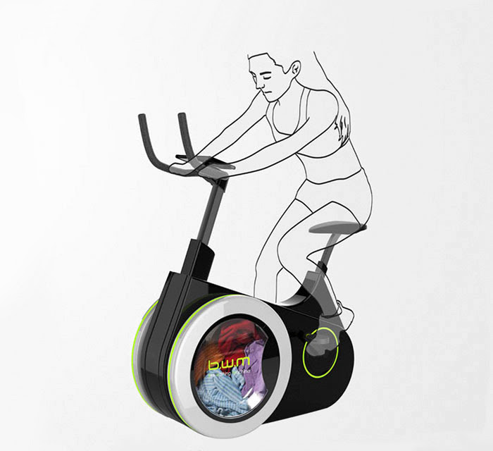 Bicicleta ergométrica lava suas roupas enquanto você perde umas gramas