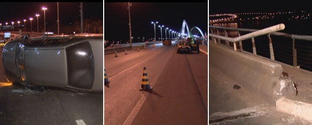 Carro tombou em acidente na Ponte JK, em Brasília, na madrugada desta terça-feira (21) (Foto: TV Globo/Reprodução)