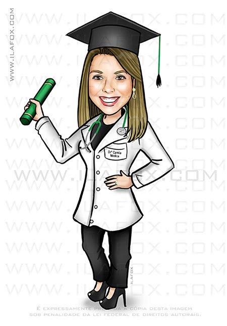 caricatura formanda, caricatura clássica, caricatura médica, caricatura de jaleco, caricatura de formatura, by ila fox