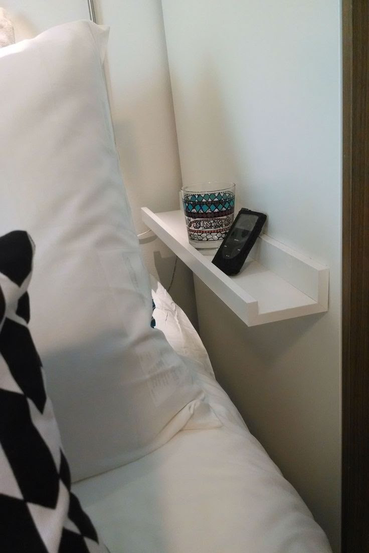 Think you don't have space for a nightstand? The Squad added the RIBBA picture ledge next to Namate's bed. Just enough space for a phone, glass, and maybe a book!