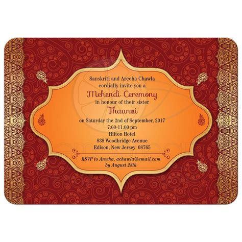 Party Invitation   Red Paisley Mehndi Ceremony Bridal