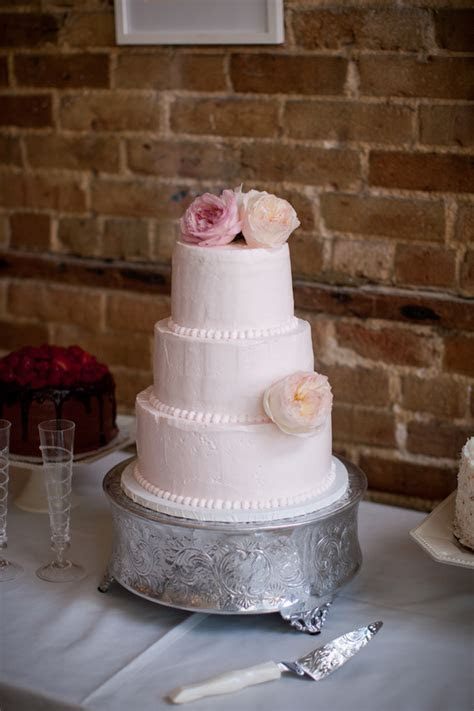 Three Tier Round Pink Wedding Cake   Elizabeth Anne