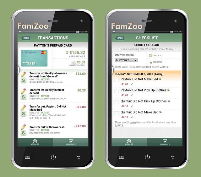 Mobile Screens for a Prepaid Card Account and a Chore Checklist