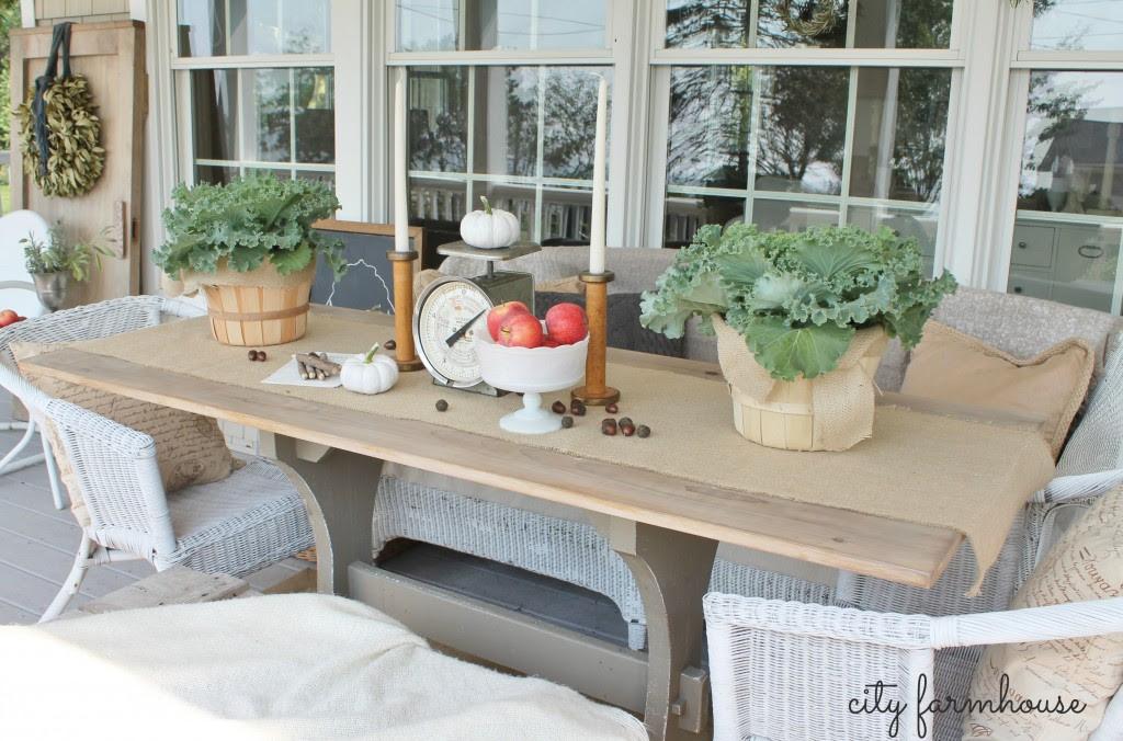 Fall POrch City Farmhouse Harvest Table