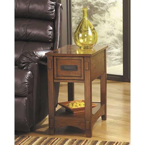 breegin oak chairside  table    ashley
