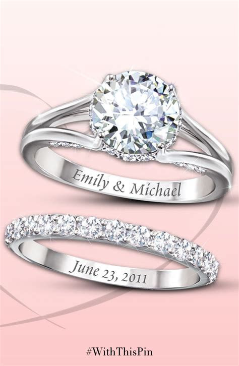 Diamonesk Personalized Bridal Ring Set   Personalized