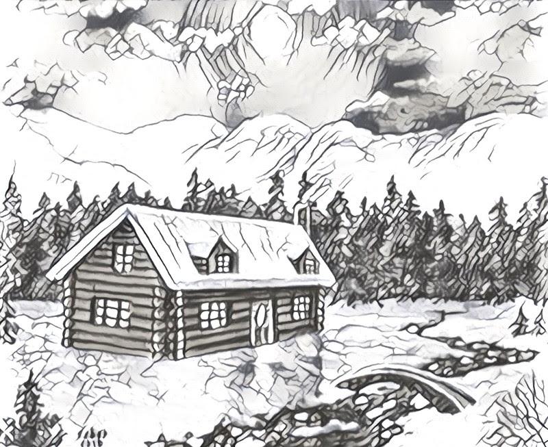 Dibujo Para Colorear Relajante Montana Chalé Bajo La Nieve 4