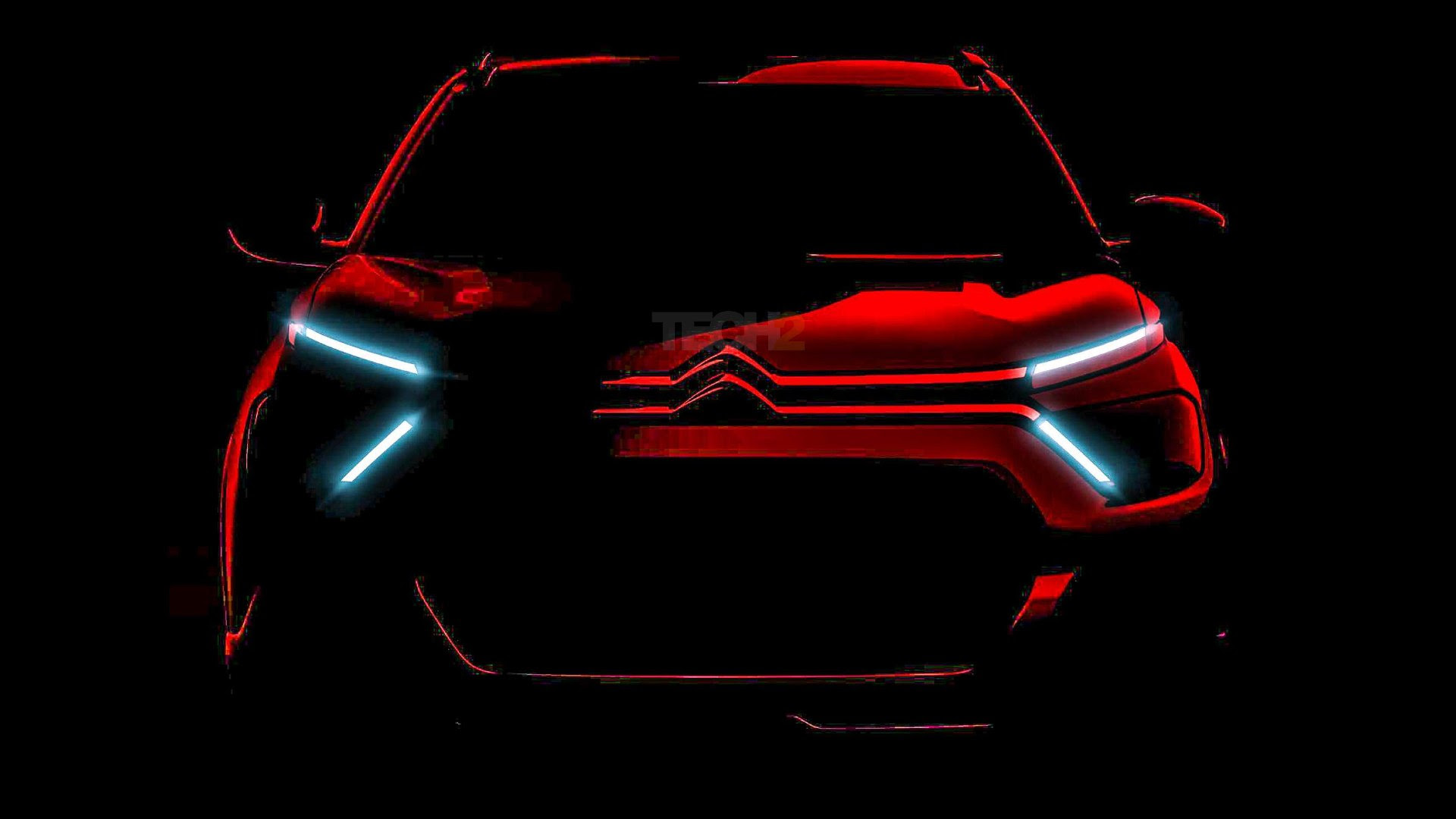 Chrome extensions emerging from iconic double chevron flow into the thin, X-shaped LED daytime running lights. Image: Citroen