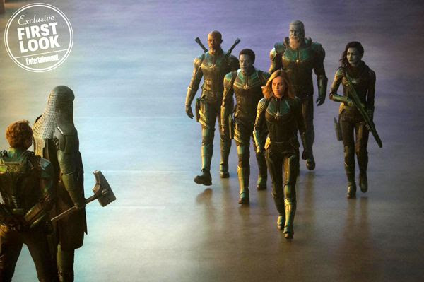 Carol Danvers and her fellow Starforce members [which consist of Minn-Erva (Gemma Chan) and Korath the Pursuer (Djimon Hounsou)] approach Ronan the Accuser (Lee Pace) and Mar-Vell (Jude Law) in CAPTAIN MARVEL.