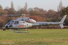 G-SKYN - 1982 build Aerospatiale AS355F1 Ecureuil II, fuel stop at Barton en-route to covering the tragic Helicopter accident in Glasgow