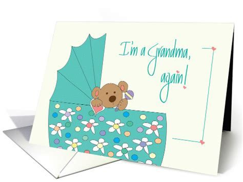 New Baby Announcement for Grandma, Bear in Floral