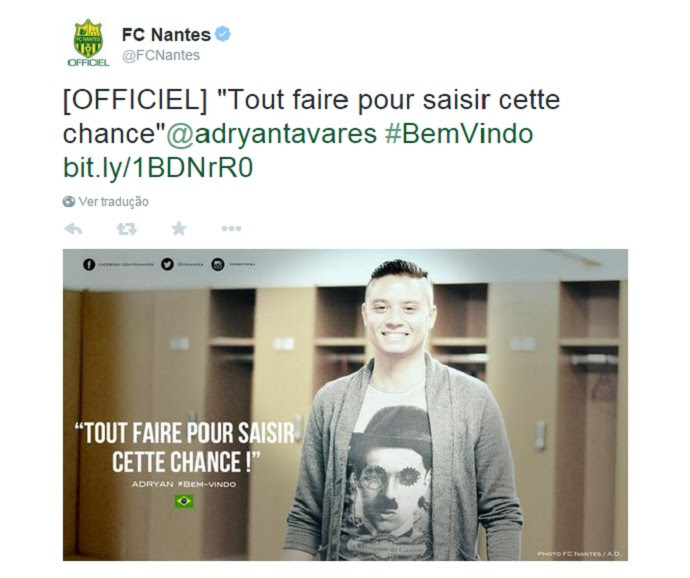 Adryan Nantes anúncio (Foto: Reprodução/Twitter)