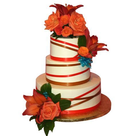 (1024) Fall Ribbon and Flower Three Tier Wedding Cake