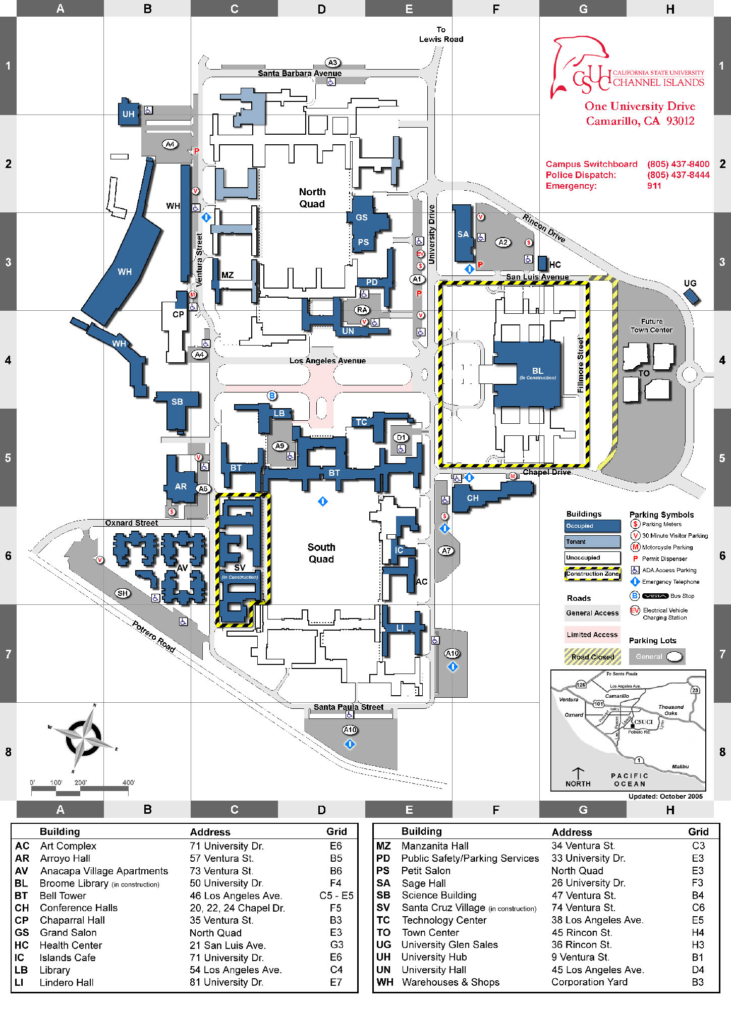 Csu Channel Islands Campus Map Csuci Map | Color 2018