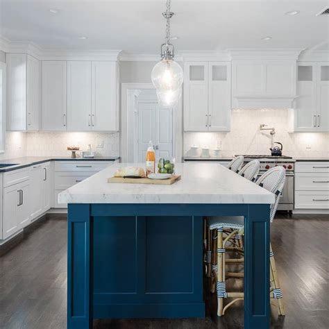 navy blue kitchen island  white kitchen design blurmark