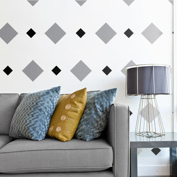 A great modern living room. The wall pattern was created with square wall decals! Square/Diamond wall decals from CozyWallArt.com