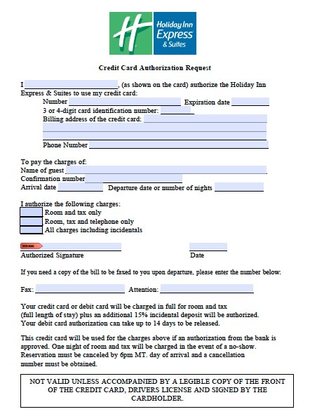 Download Holiday Inn Credit Card Authorization Form wikiDownload