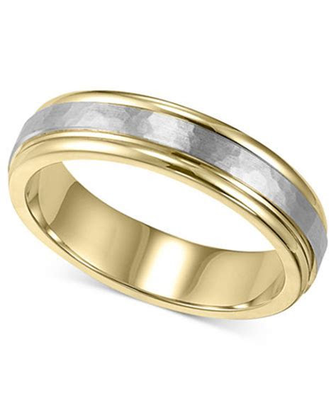 Men's 14k Gold and 14k White Gold Ring, Two Tone Hammered