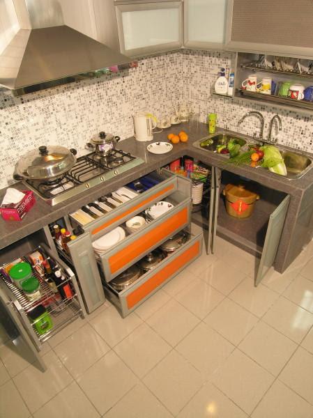 Opened cabinets in modular kitchen - GharExpert
