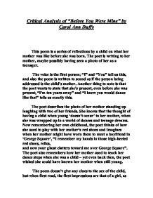 Critical Analysis Of Before You Were Mine By Carol Ann Duffy A