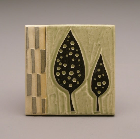 Dotted Leaves- 3x3 tile- Ruchika Madan