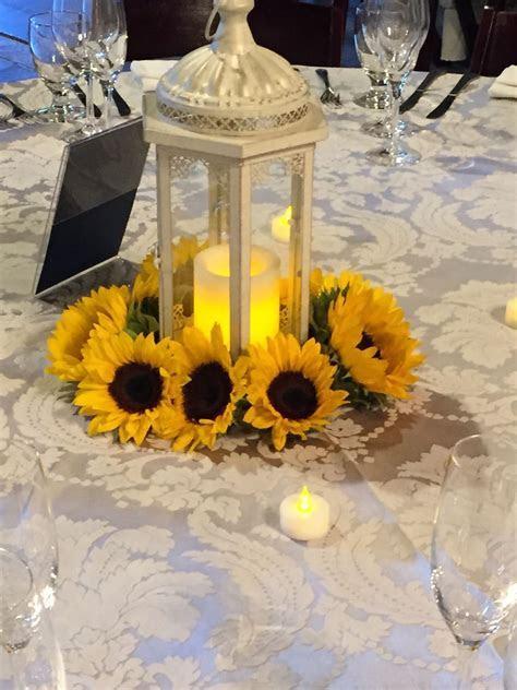Sunflower lantern centerpiece   flowers   Sunflower