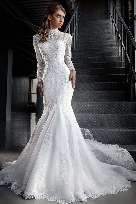 white lace long sleeve muslim wedding dress mermaid high