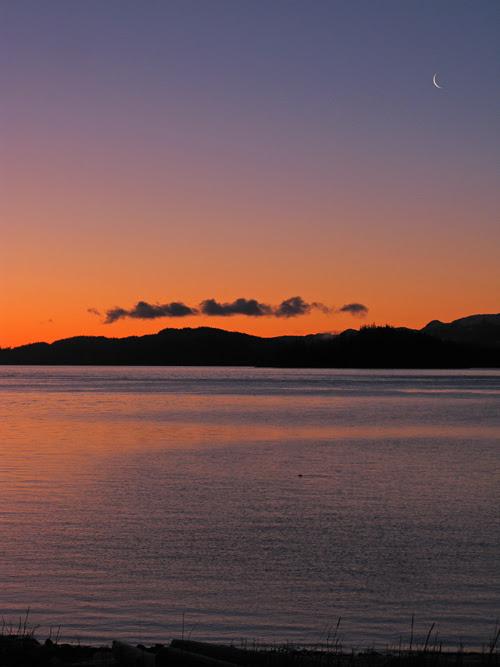 new moon over Kasaan Bay, Alaska