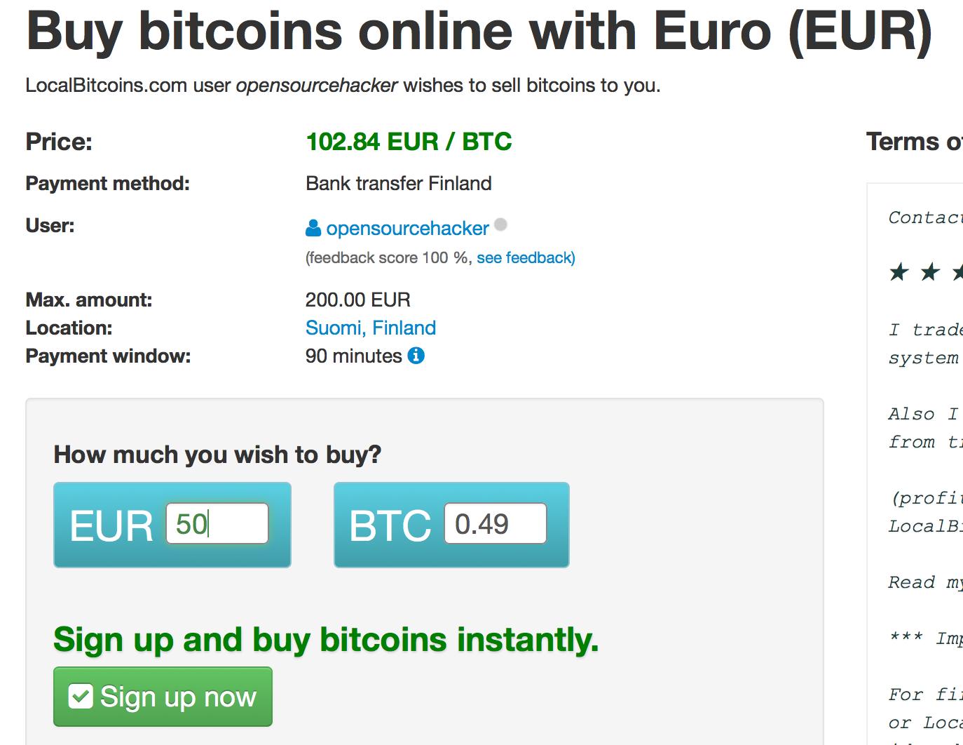 buy bitcoin using bank account